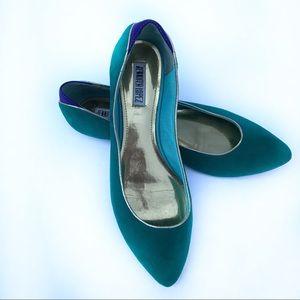 Jennifer Lopez Green blue keera flat pointy toe